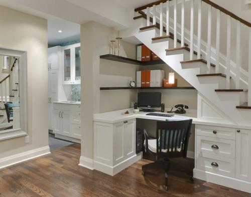 Home Office tisch holz platten treppe mobiliar