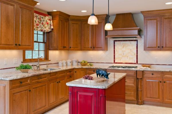 Kücheninsel gestalten holz deckenbeleuchtung feminine einrichtung