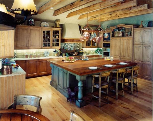 Kücheninsel gestalten holz esstisch mit stühlen küchenschrank