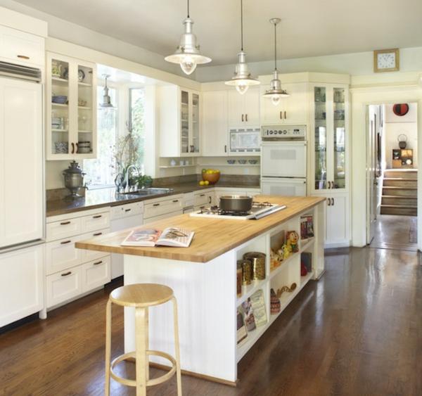Kücheninsel gestalten holz hängelampen metallisch