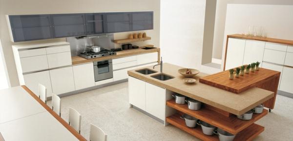 Kücheninsel gestalten holz offene regale spülen