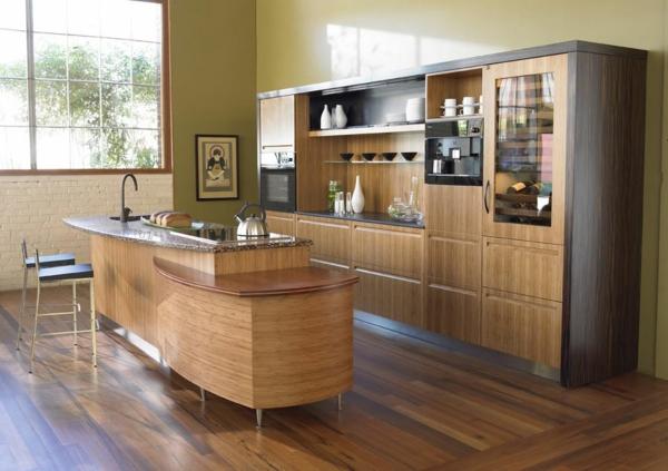 Kücheninsel gestalten holz texturen warm ambiente