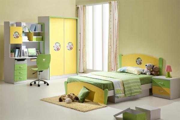 Kleiderschrank  Kinderzimmer frische gelbe grüne farben