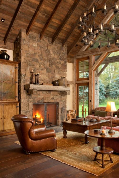 Landhausstil zu Hause populär einrichtungsideen kamin eingebaut