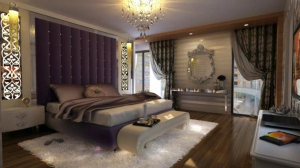 lila Schlafzimmer bett braun seide kronleuchter