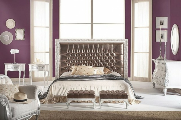 lila Schlafzimmer bett kopfteil übergroß gepolstert leder