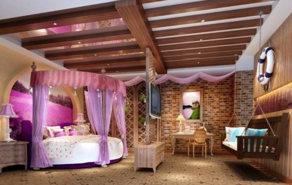 Luxus Schlafzimmer Mit Himmelbett ~ Luxus lila Schlafzimmer  Einrichtungsideen für eitle Damen
