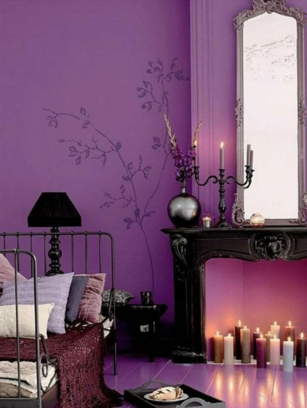 Luxus lila Schlafzimmer purpurrot wandsticker kerzenhalter