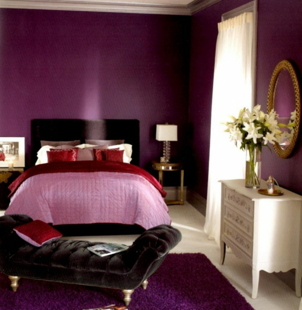 Luxus lila Schlafzimmer rosa rot weiß kommode teppich
