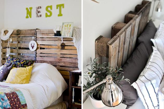 Möbel aus Europaletten basteln kopfteil schlafzimmer