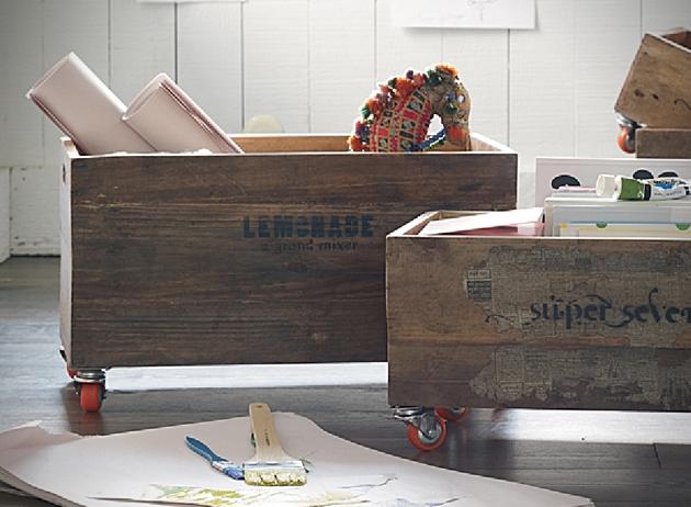 Möbel aus Europaletten basteln rollen kasten
