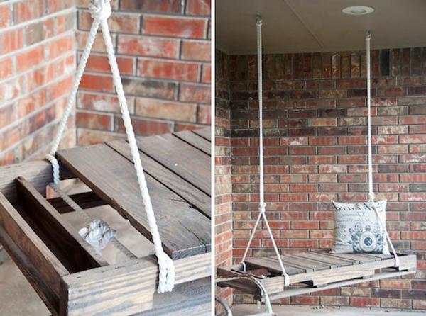 Möbel aus Europaletten basteln schaukel seil