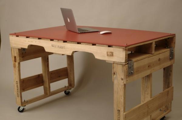 möbel aus europaletten basteln - Paletten Schreibtisch