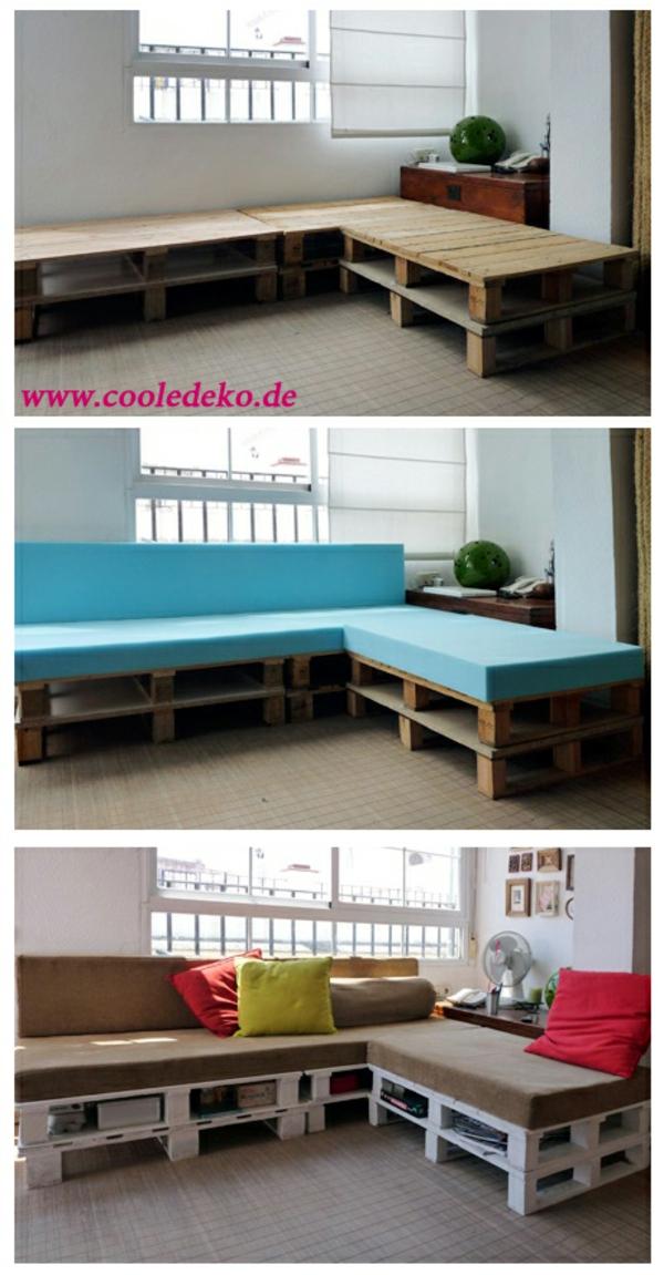 Möbel aus Europaletten haus blau auflagen