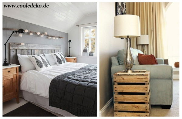 Möbel aus Europaletten nebentisch schlafzimmer bett nachttisch