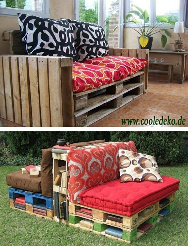 Möbel aus Europaletten rot auflagen kissen und auflagen