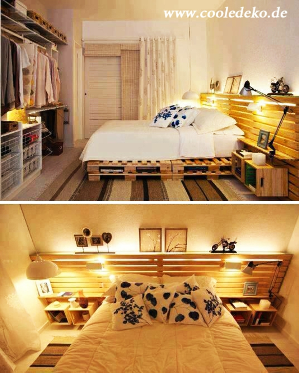 Möbel aus Europaletten schlafzimmer kopfteil