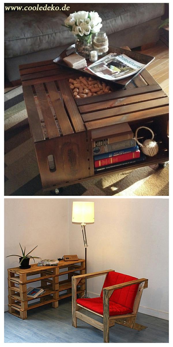 Möbel aus Europaletten schreibtisch sessel wohnzimmer tisch rollen