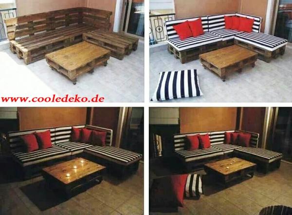 Möbel aus Europaletten sofas auflagen streifen