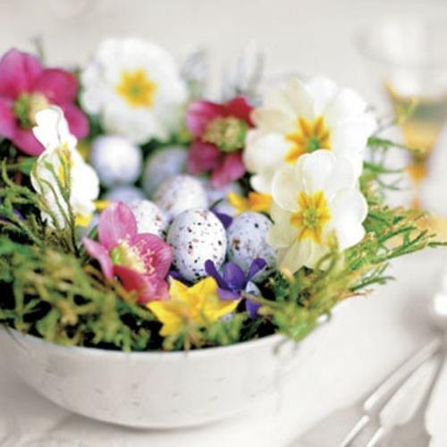 Osterdeko Frühlingsblumen frisch grün