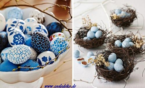 Osterdeko und Dekoartikel osterhasen blüten blau