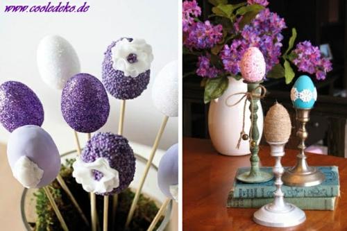 Osterdeko  Dekoartikel osterhasen blüten violett lila