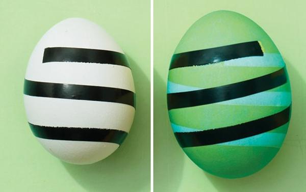 Ostern eier bemalen bunt blüten schwarz dünn