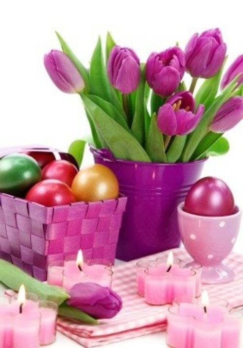 Osterkorb basteln feminine farben