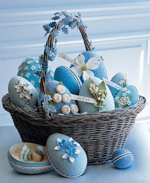 Osterkorb basteln hängend blau thematisch farbe
