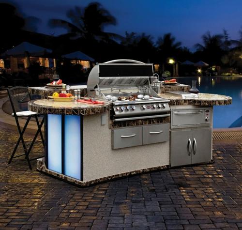 Outdoor-Küche-im-Außenbereich-edelstahl-bodenbelag-pool