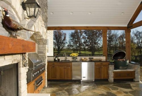 Outdoor Küche im Außenbereich exotisch dekoartikel stein wand