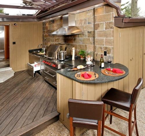 Outdoor Küche im Außenbereich leder hocker lehnen holz bodenbelag