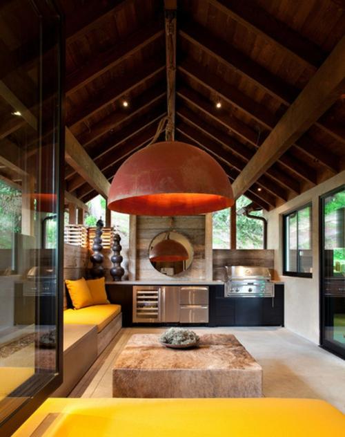 Outdoor Küche im Außenbereich pflanzen frisch design modern gestaltung