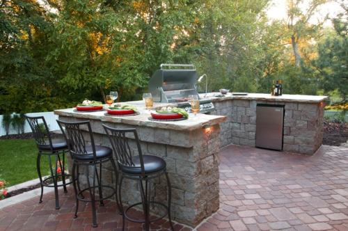 Outdoor Küche Im Außenbereich Pflanzen Garten Küchenhocker Grill