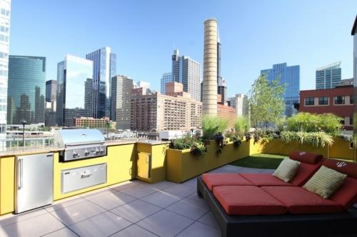 Outdoor Küche im Außenbereich stadt dachterrasse gelb oberfläche