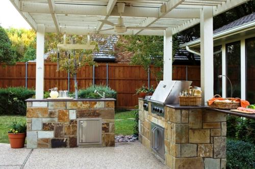 Outdoor Küche im Außenbereich stein überdachung