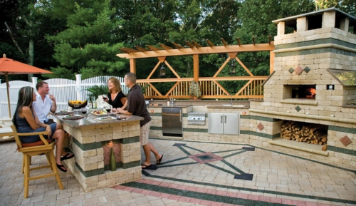 Outdoor Küche im Außenbereich stein familie überdachung holz