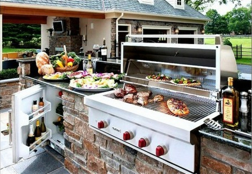garten Küche mit Grill feuerstelle barbecue