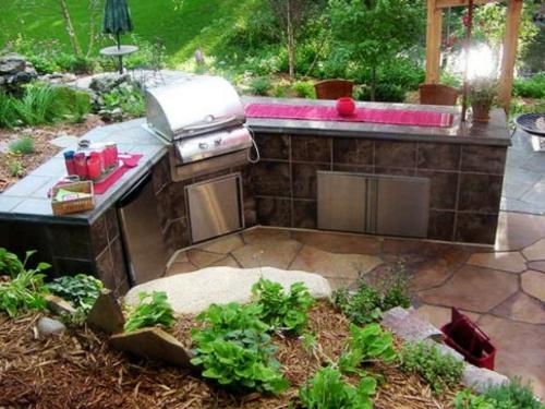 patio Küche mit Grill feuerstelle kompakt