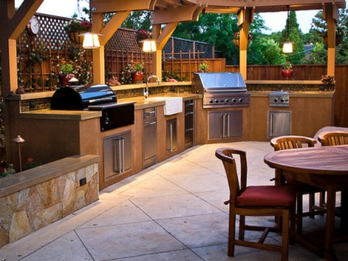 Garten Küche Mit Grill Holz Möbel Esstisch