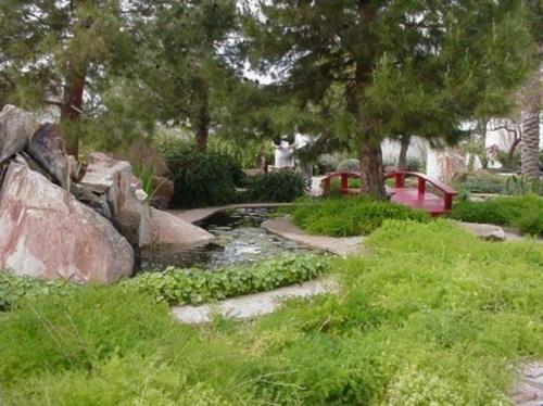 Prächtige Gartengestaltung gras pflanzen wasseranlage teich