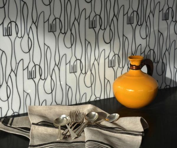 coole Küchenrückwand besteck muster tischdecke