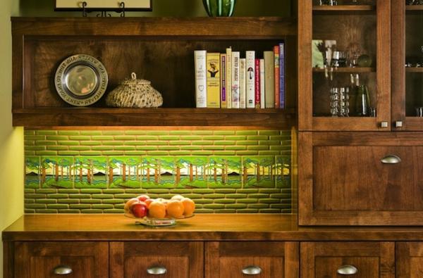 Schöne Küchenrückwand grün beleuchtet ziegel indirekt