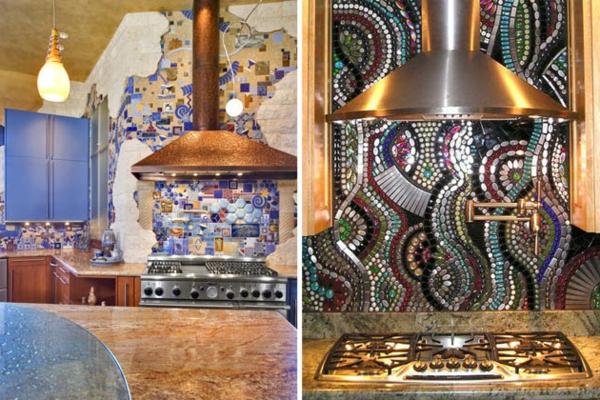Schöne Küchenrückwand inkrustiert stoffe materialien