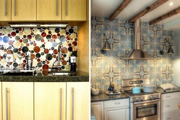 Schöne Küchenrückwand vintage fliesen blumenmuster