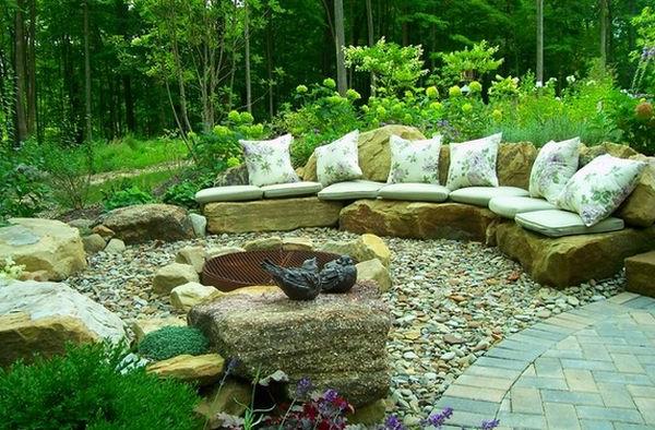 Schöne Landschaft im Garten auflagen kissen