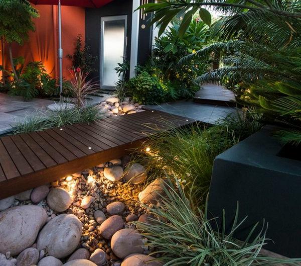 Landschaft im Garten fußweg beleuchtung indirekt