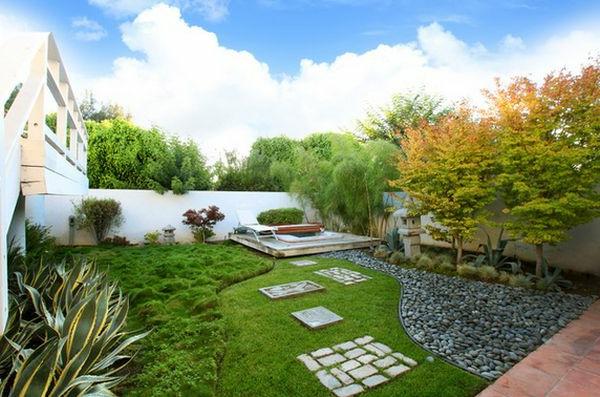 schöne landschaft im garten - kieselsteine und flusssteine einbauen, Garten und Bauen