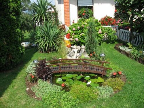 Garten elegant arrangiert gartengestaltung brücke holz