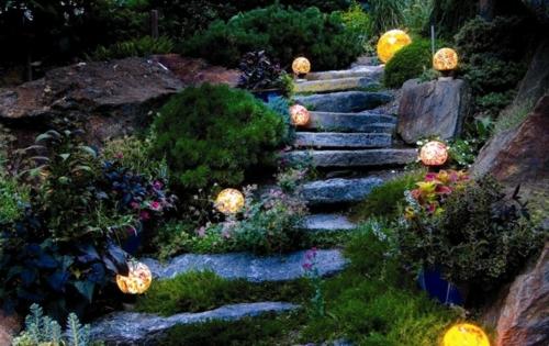 Schöner Garten elegant arrangiert gartengestaltung stein stufen